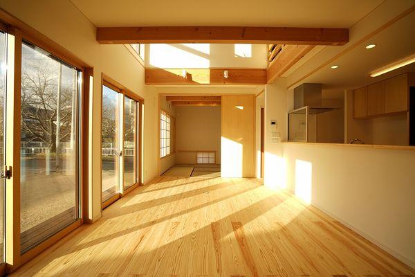 サクラを眺める陽だまりの家